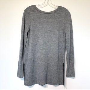 Max Studio merino wool tunic sweater grey strappy